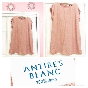 Antibes Blanc | Blush Fringe Linen Shift Dress 🌸
